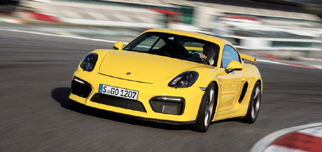Yellow Porsche Cayman GT4 lease