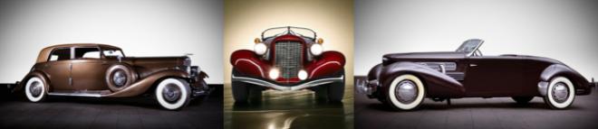 Image Source: 1935 Duesenberg Model JN Long Wheelbase (Gooding & Co), Auburn Supercharged V8 Boattail (Salome2.tumblr.com), Cord 812 Sportsman (Gooding & Co)