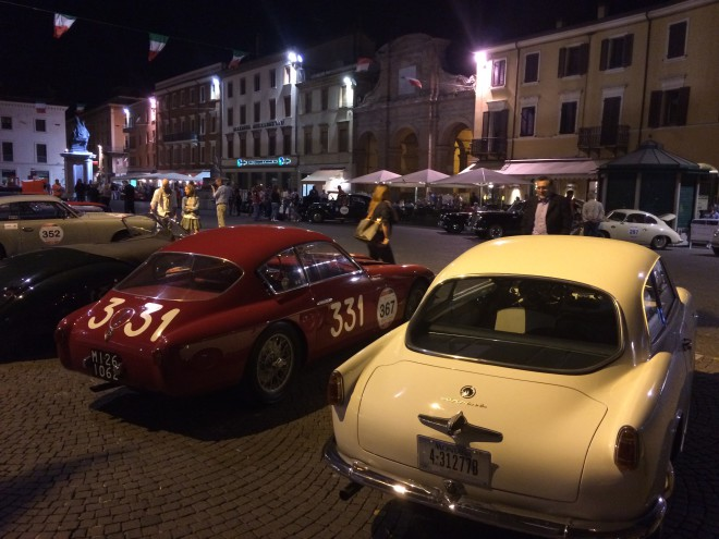 Cars Parked in Parma during Mille Miglia