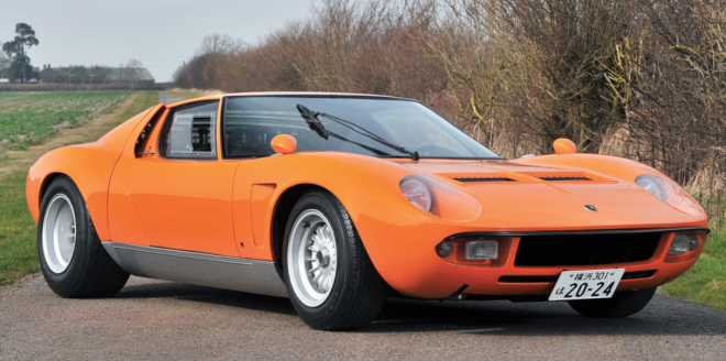 Orange 1969 Lamborghini Miura S with Jota modifications