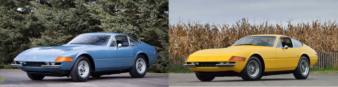 two 1973 Ferrari GTB/4s side by side
