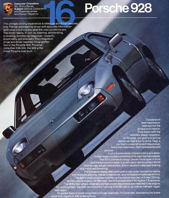 Porsche 928 Advertisement