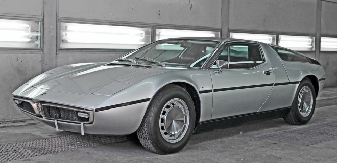 The front fender of a Silver Maserati Bora