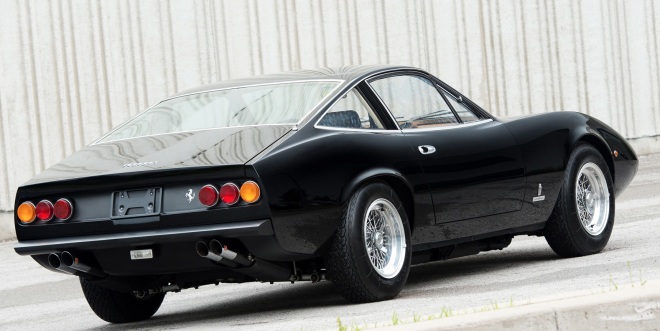 Rear view of Black Ferrari 365 GTC/4