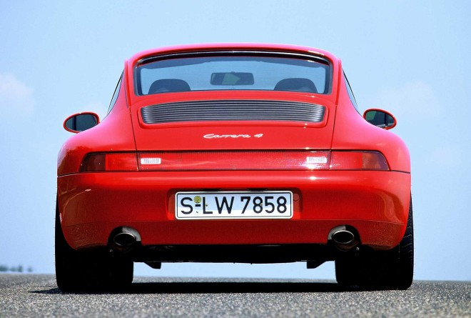 The Rear of a Red Porsche 911 993