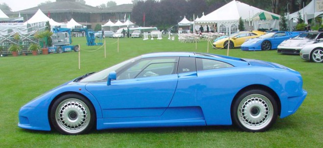 Lease a Blue Bugatti EB110 profile view.