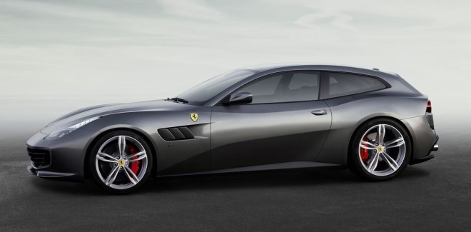 Profile view of a silver Ferrari GTC4Lusso