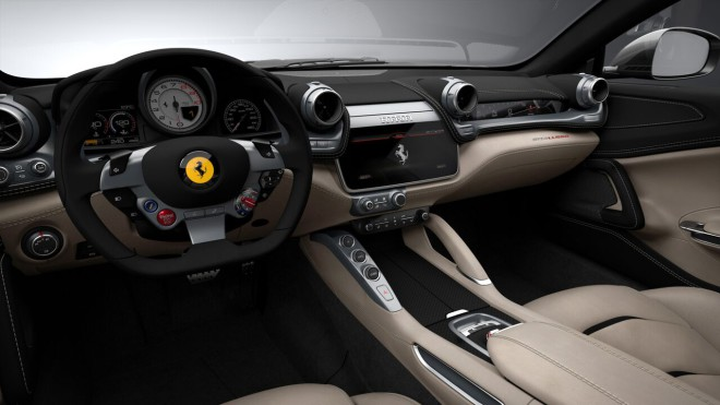 The Steering Wheel of a Ferrari GTC4Lusso Leased by Premier