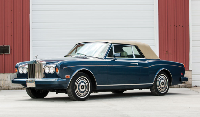 A blue Rolls-Royce Corniche leased with Premier