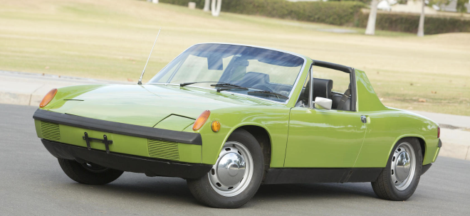 Front 3/4 of a green Porsche 914 leased