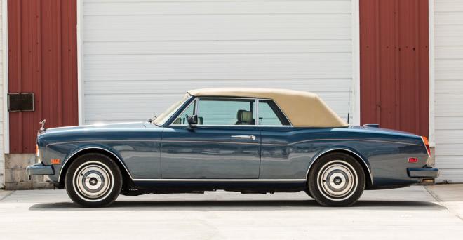 Profile view of a blue Rolls-Royce Corniche