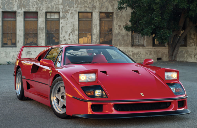 Red Ferrari F40 Headlights up lease
