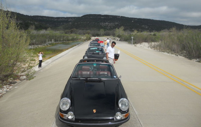A Porsche Rally on the Three Sisters road in Texas.
