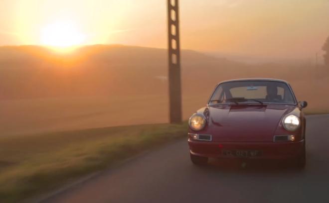 Red Porsche 912 at sunset
