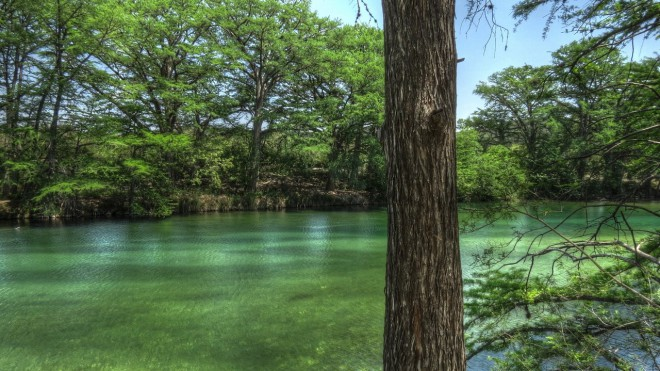 The clear Frio River alongside the Twisted Sisters