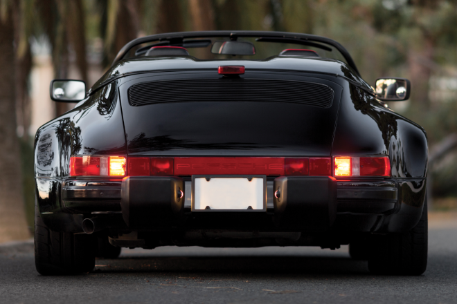 Black 1989 Porsche 911 Speedster rear end