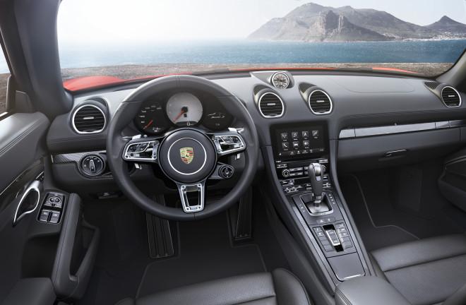The interior of a new Porsche 718 Boxster