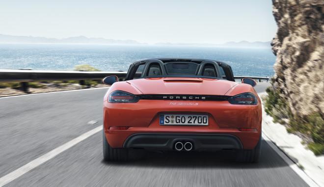 Orange Porsche 718 Boxster rear