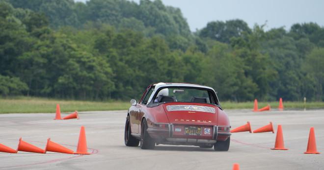 Red Porsche 911 Targa softie autocross