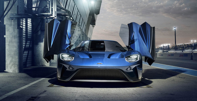 Blue 2017 Ford GT with butterfly wing doors