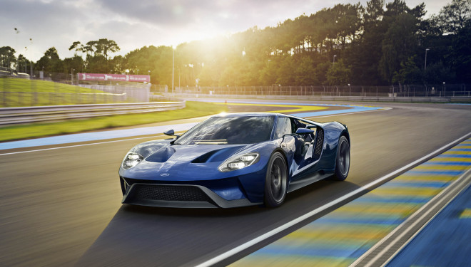 Blue 2017 Ford GT on the track at sunset