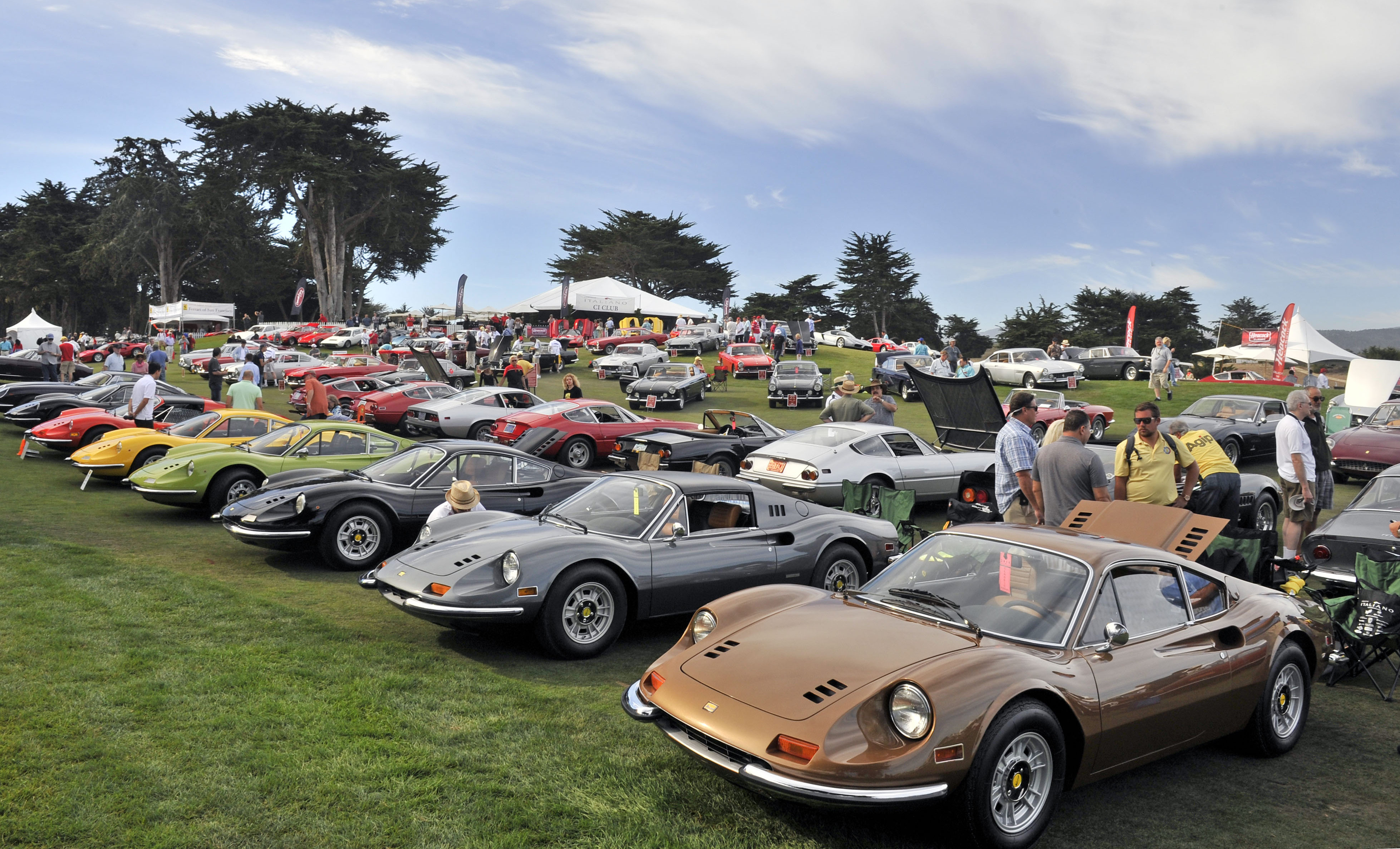 A line of colorful Ferrari Dino GTs