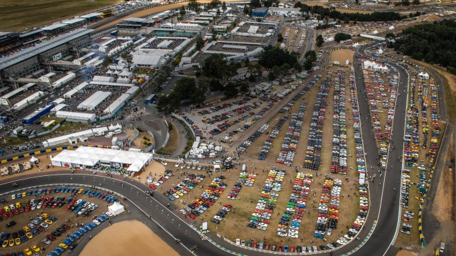 Aerial view of the Le Mans Classic