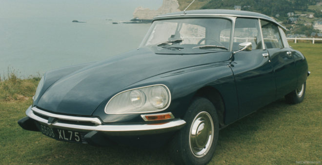 Vintage Citroen DS on mountain top