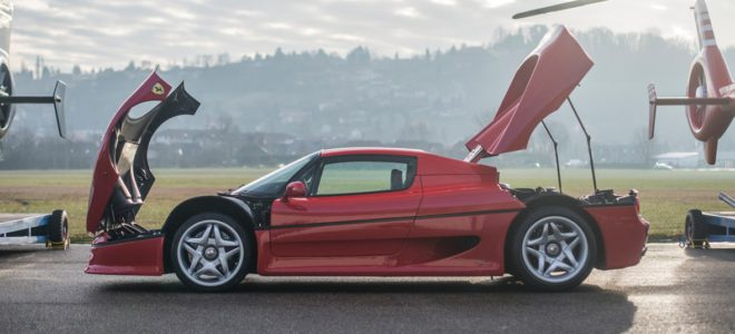 Ferrari F50 with its trunk and hood open