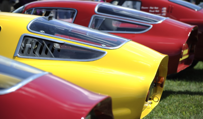 Kamm-tail Alfa Romeos in a line