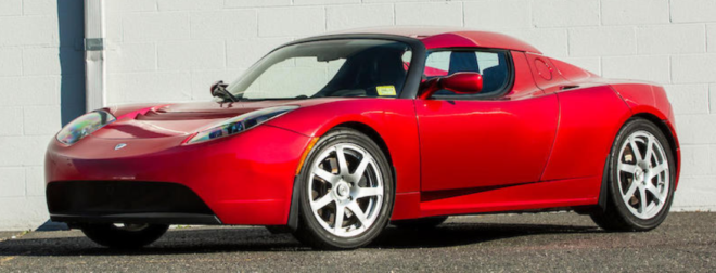 Lease a red 2008 Tesla Roadster