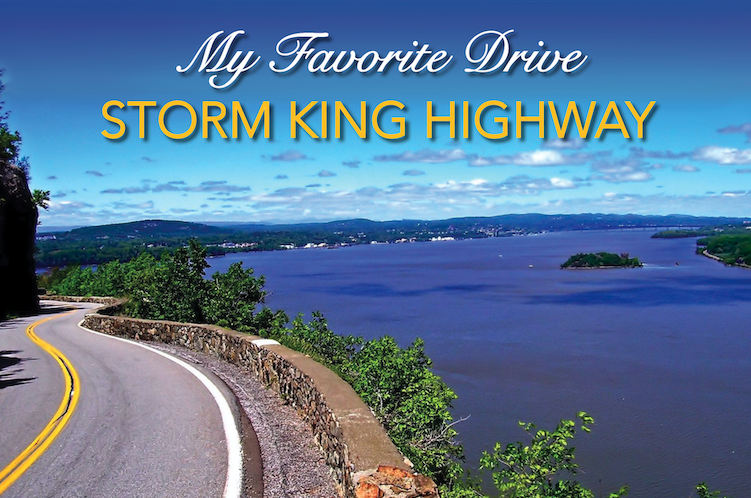 My Favorite Drive Storm King Highway, Blue Skies, curving road and Hudson River, Exotic Car Loan