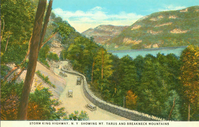 My Favorite Drive Storm King Highway, Vintage Postcard Mt. Taurus and Breakneck Mountains, Great Sunday Drive, Classic Car Finance