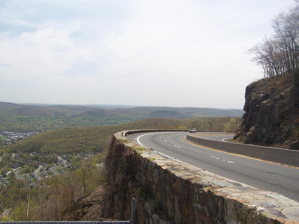 My Favorite Drive Storm King Highway, View of West Point from Curving Road, Lease a Vintage Car