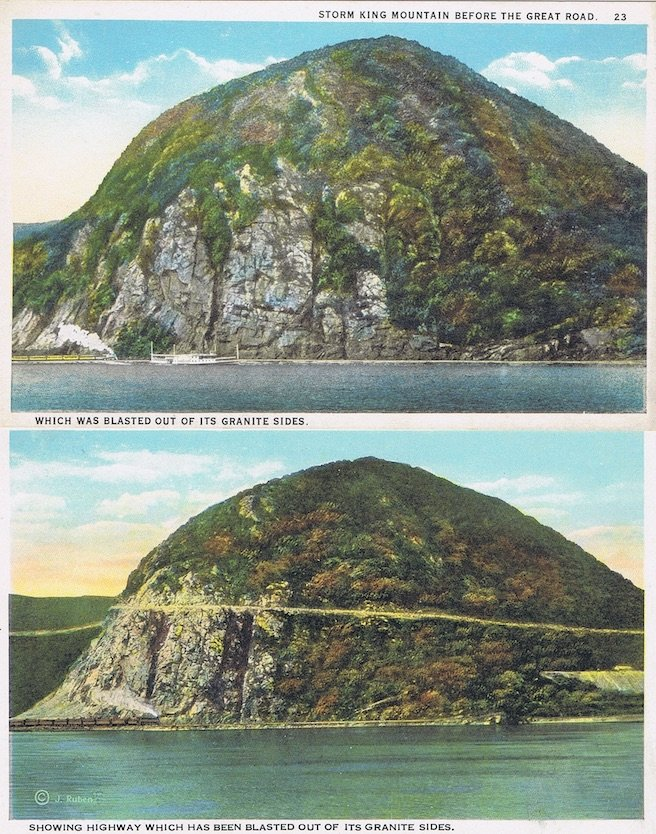 My Favorite Drive Storm King Highway1920 Postcard Before and After, Storm King Mountain Before and After Blasting for the Great Road, Fun Driving
