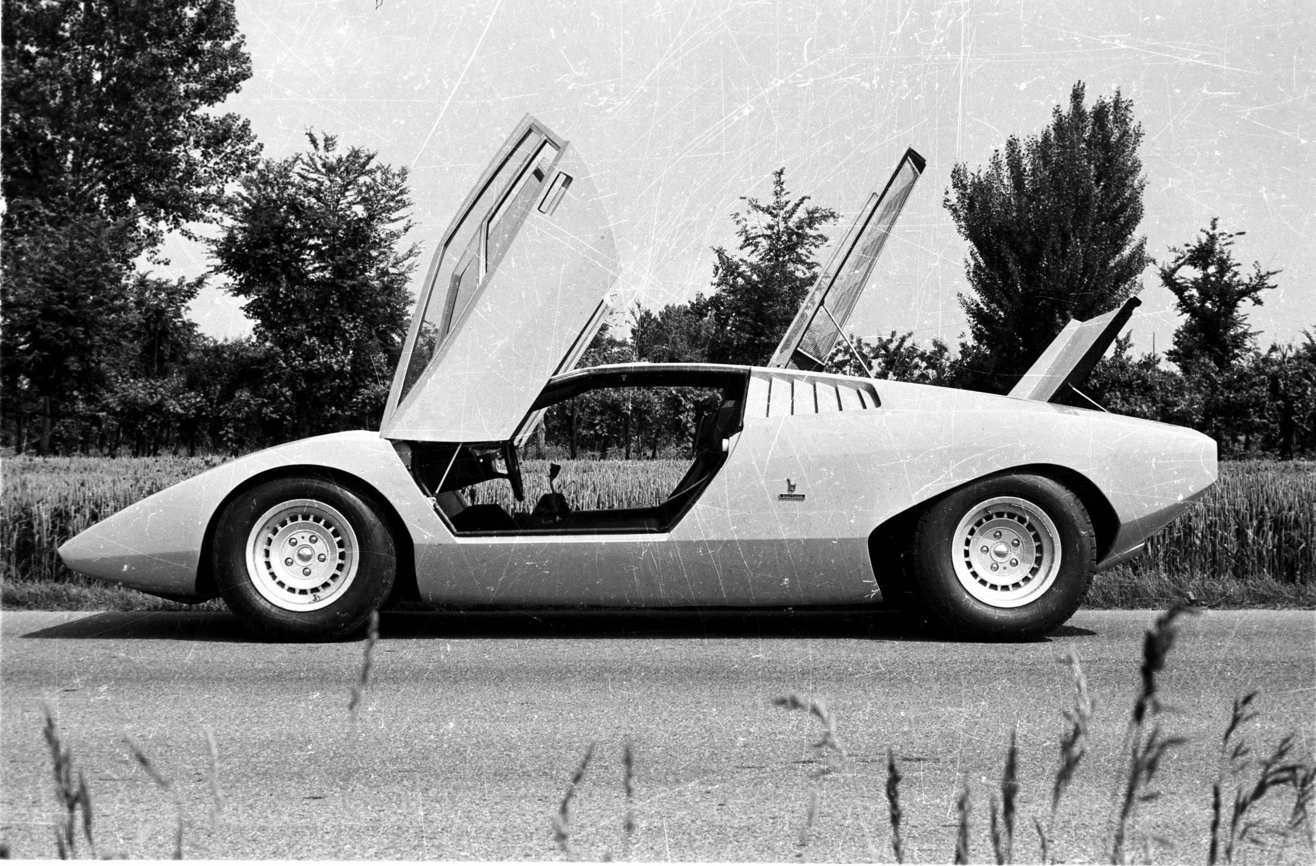 Yellow 1971 Lamborghini Countach LP500 scissor doors open, PFS Simple Lease