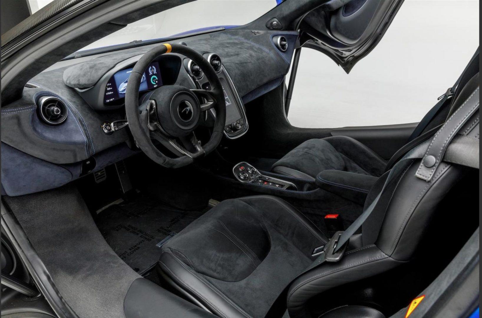 "Model Perspective: McLaren 600LT Interieor View of McLaren Longtail sold at Bonham's ""Supercar on Sunset"" Sale. Luxury Car Financing"