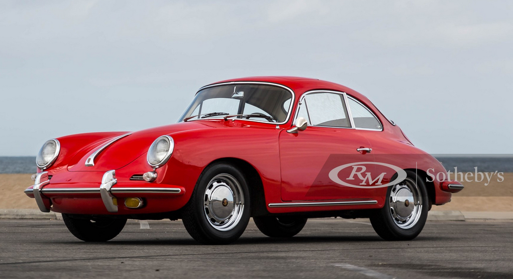Red 1965 Porsche 356C 1600 SC 'Sunroof' Coupe, on runway, three-quarter panle drivers side, Premier Loves Leasing Porsches from RM Sotheby's