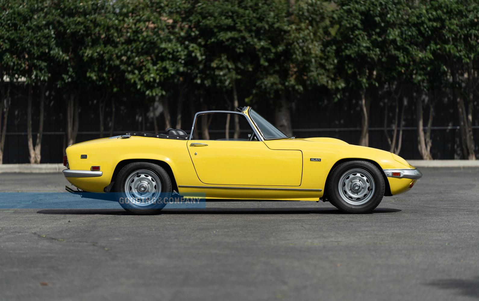 Yellow 1969 Lotus Elan SE-Convertible Passenger Side at Gooding Auction. Lease a Lotus wth Premier