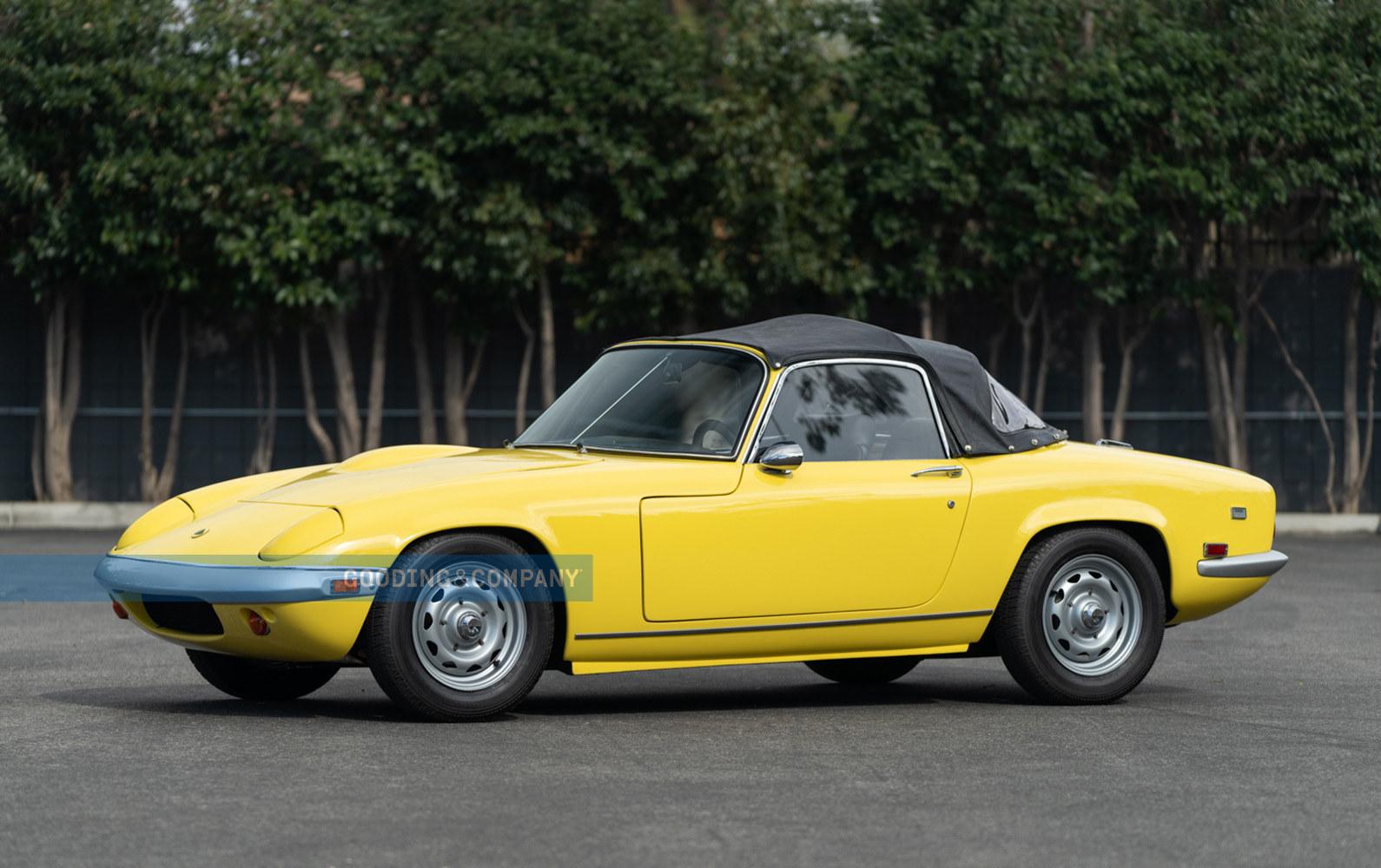 Yellow 1969 Lotus Elan SE-Driver Side parked on sunny day. Lotus Loan, #pfs_Leasing