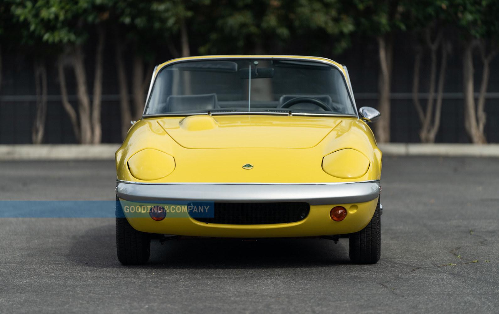 Yellow 1969 Lotus Elan SE-Front View, headlights down, Lucky Lotus Leasing