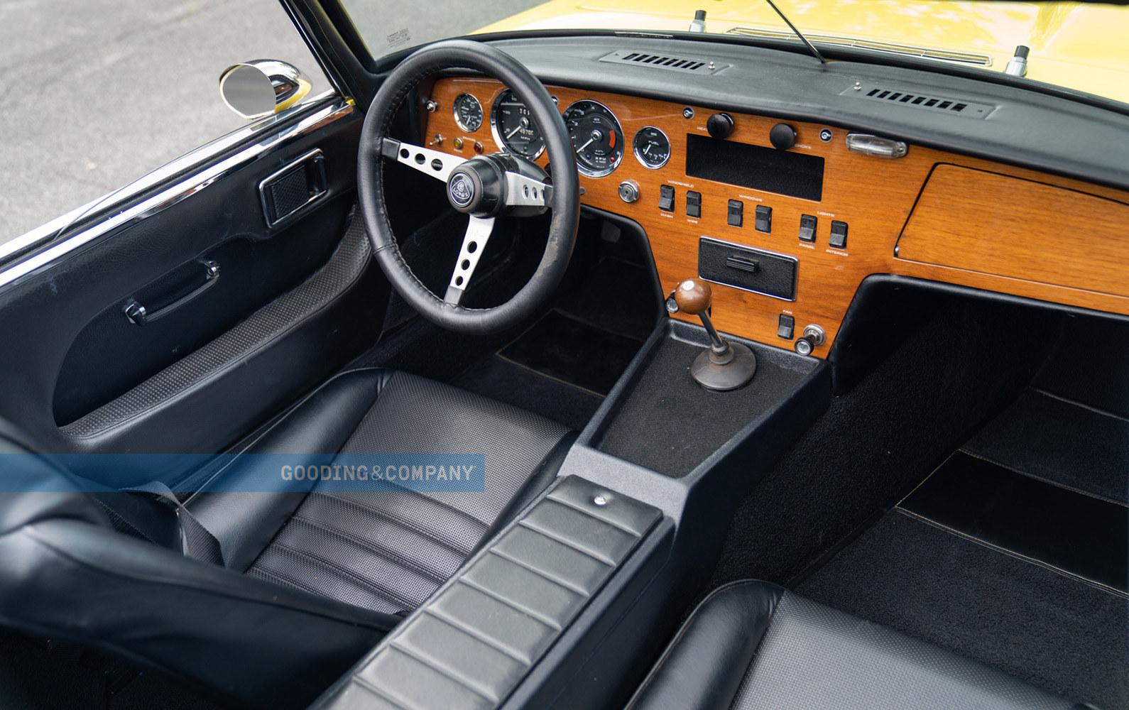 1969 Lotus Elan SE-Interior, Wood dash, black leather. Lotus Love