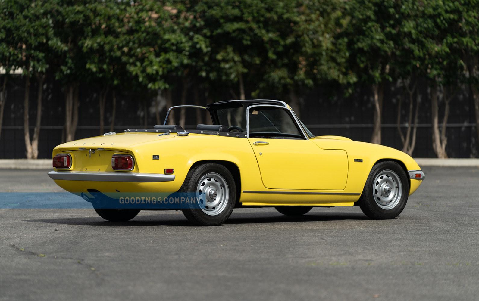 Yellow 1969 Lotus Elan SE-Rear three-quarter view, Financing for a Lotus