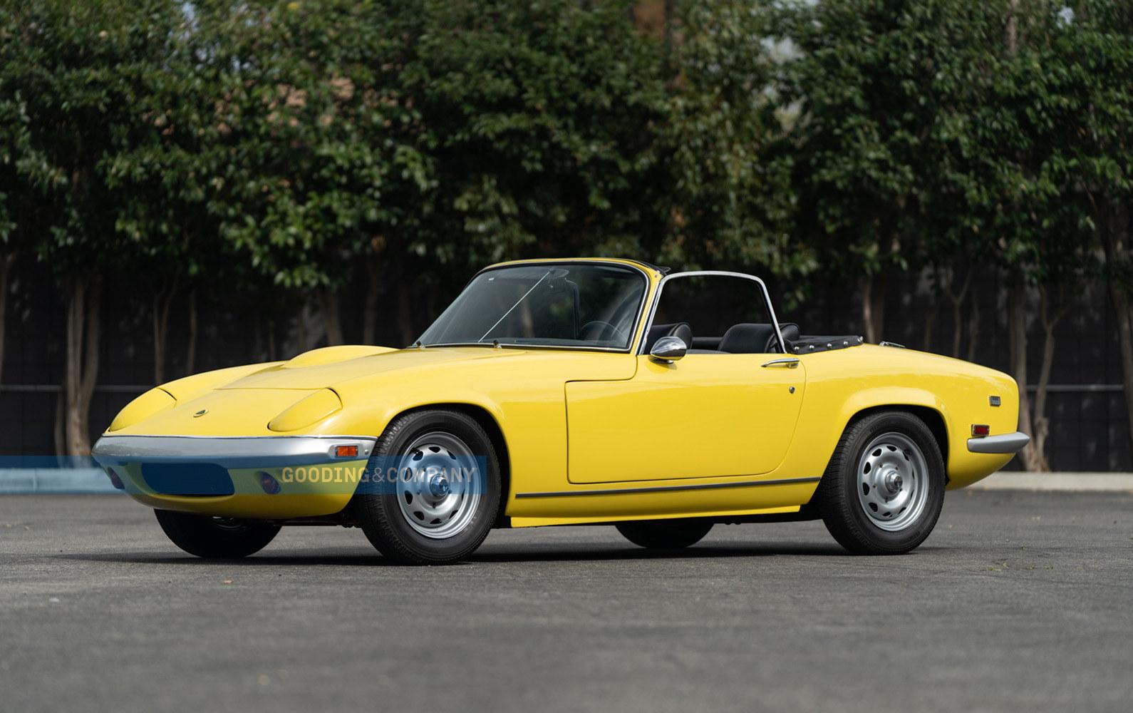 Yellow 1969 Lotus Elan SE convertible - three-quarter Top Down Dirver Side, Luxury Leasing