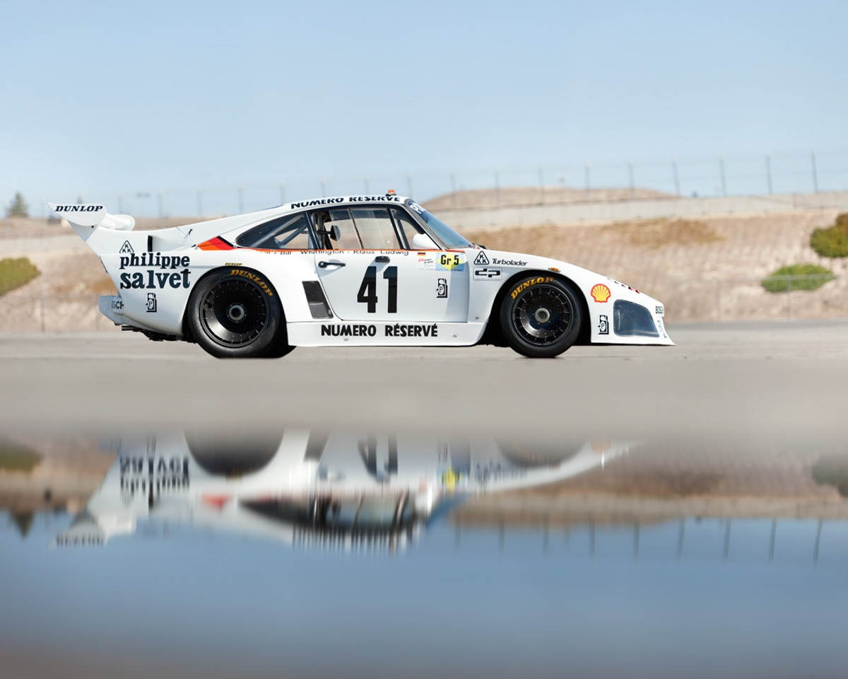 1979 Porsche 935 Lemans Winner - White Race Car reflected in Pool, PFSSimpleLease. #pfs_leasing