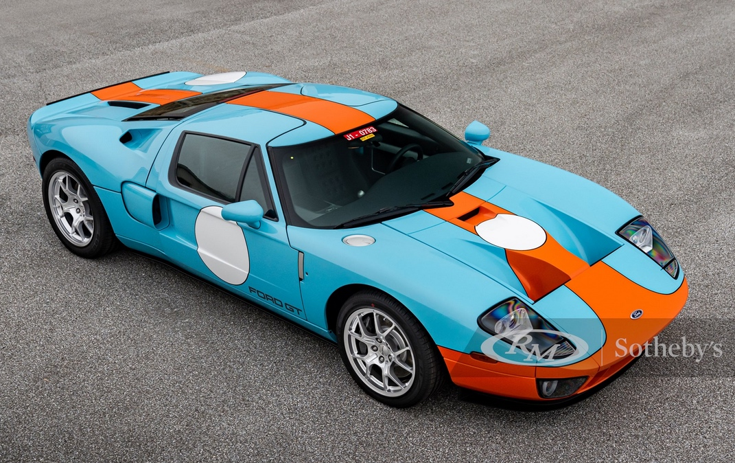 2006 Ford GT Heritage Edition, Blue and Orange, Top view. Superexotic car leasing
