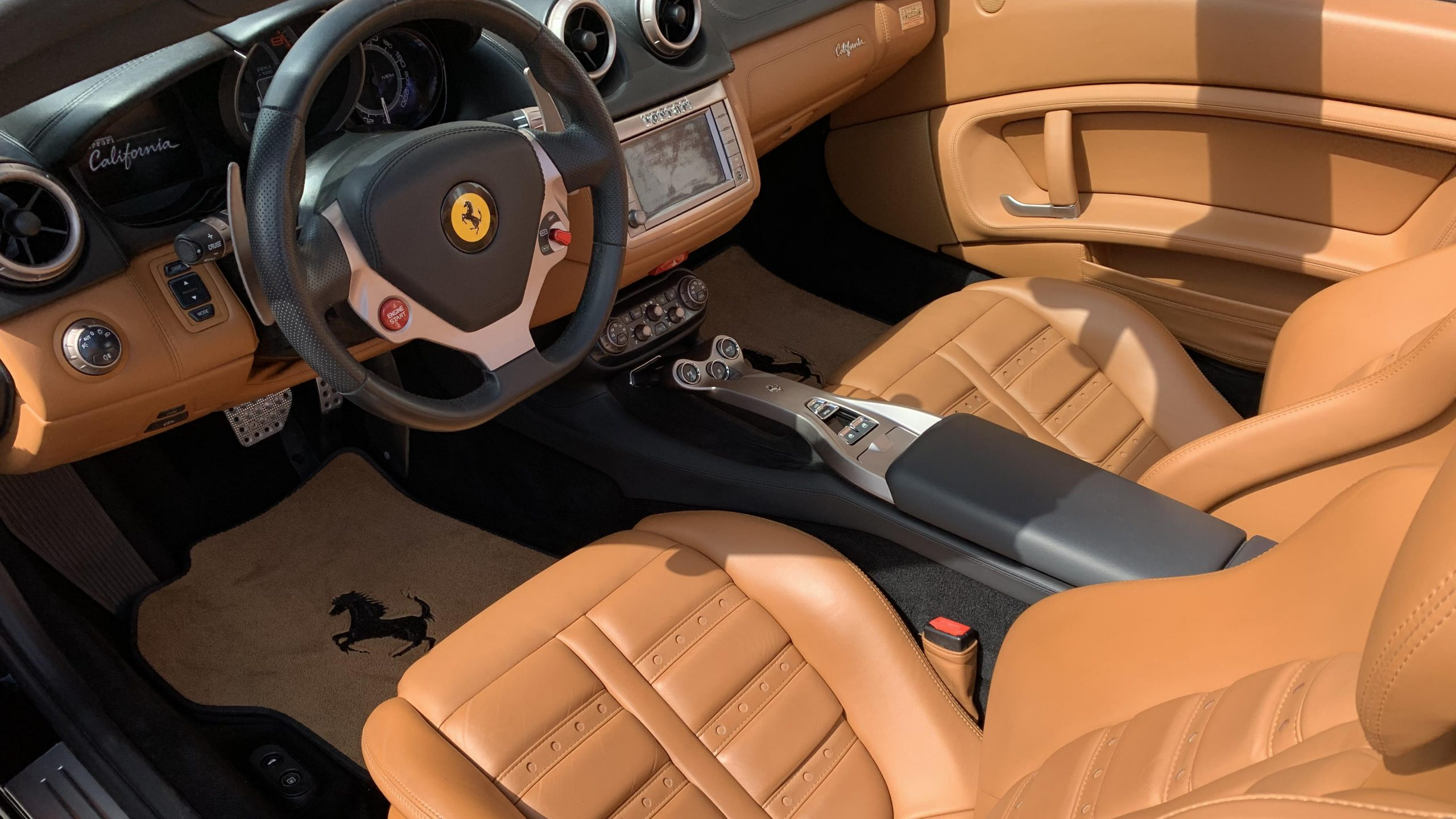 Ferrari California interior in tan leather, Exotic Car Finance
