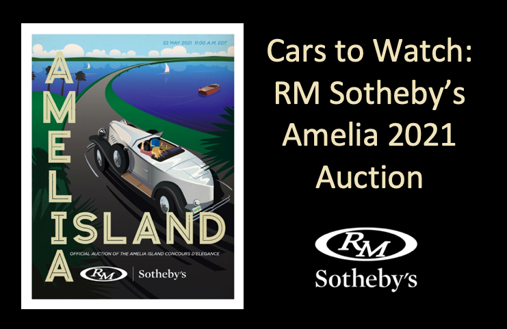 2021 RM Amelia Poster, Vintage Car Poster, illustrated Driving along the water