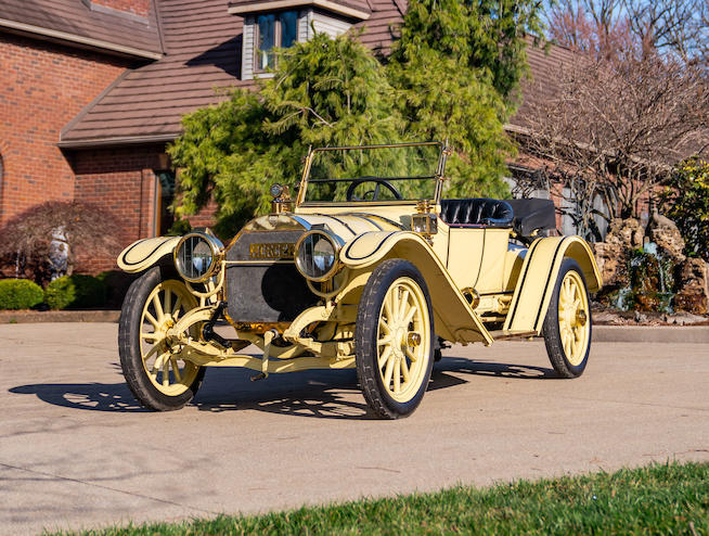 Yellow 1913 Mercer Type 35K Runabout - Front View