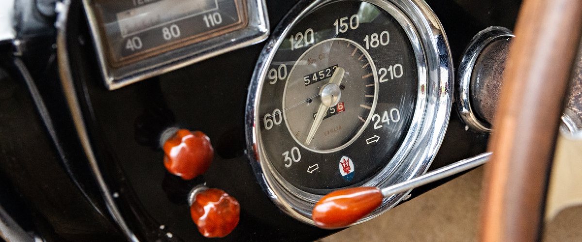 1956 Maserati A6G/54 barn find instrument panel. PFS Simple Lease